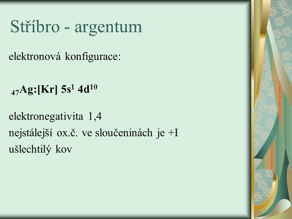 Stříbro - argentum elektronová konfigurace: 47Ag:[Kr] 5s1 4d10
